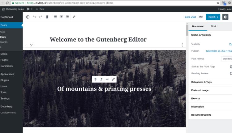 Команда Gutenberg вивчає майбутнє повного редагування сайту з новим прототипом